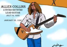 Justin Bradley, Allen Collins, Lynyrd Skynyrd, Rock Music, 1970s, Sketches, Illustrations, Band, Memes