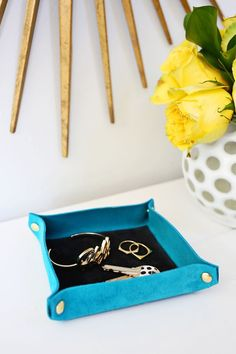 Suede Colorblocked Catchall DIY – A Beautiful Mess