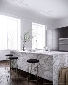 Aside from the pure magnificence of this marble kitchen benchtop with waterfall edge and overhang, is the divinity of no fingerprints or kick marks!  #practicalmoms #elegantkitchens #marblekitchens www.g3az.com