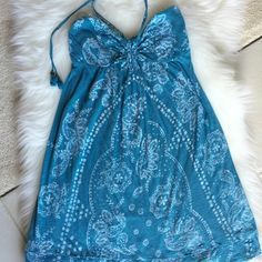 Turquoise strapless dress Beautiful strapless dress with neck tie tassels. Excellent condition. I would still wear it but I have to make some room in my closet! American Eagle Outfitters Dresses Strapless