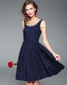 #AdoreWe #VIPme Swing Dresses❤️Designer ZERACO Dark Blue Beaded Pleated Sexy Swing Dress - AdoreWe.com