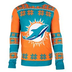 Miami Dolphins Big Logo Ugly Crew Neck Sweater from UglyTeams