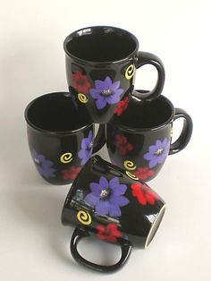 Artist's Sale Hand Painted Mugs - Bright Purple and Red Flowers, Yellow Swirls on Black Ceramic Mugs - Set of 4 Colorful Summer