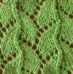 Serpent knitting stitches-this is a nice website with different stitches Types Of Knitting Stitches, Knitting Paterns, Arm Knitting, Knit Stitches, Lace Patterns, Stitch Patterns, How To Purl Knit, Eyelet Lace, Couture