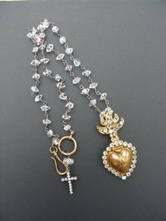 Herkimer Diamond Necklace With Antique Paste Sacred Heart Ex Voto