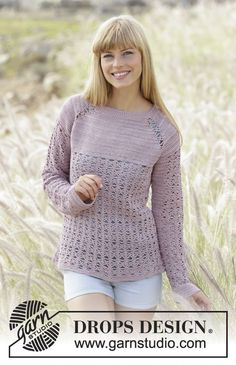 """Sweet Indigo - Crochet DROPS jumper with raglan, lace pattern and button band mid back on yoke, worked top down in """"Cotton Viscose"""". Size: S - XXXL. - Free pattern by DROPS Design Pull Crochet, Mode Crochet, Crochet Gratis, Cardigan Au Crochet, Crochet Coat, Crochet Clothes, Crochet Sweaters, Drops Design, Lace Patterns"""