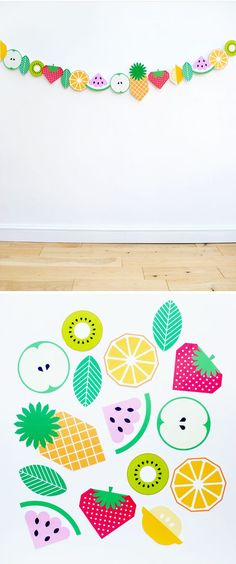 Cool Free Printable fruit garland! What fun decor for an outdoor Summer party. #diy_summer_decorations