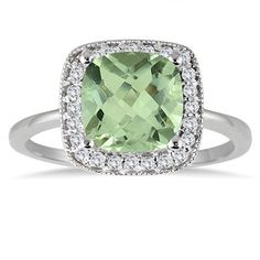 2.50 Carat Cushion Cut Green Amethyst and Diamond Ring in 14K White Gold
