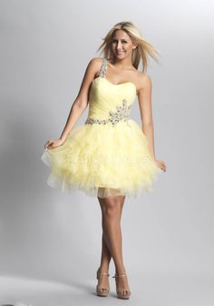 Tulle Ball Gown One Shoulder Natural Waist Short Length Prom Gown