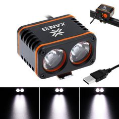 XANES 1200LM 2xT6 LED 4-Mode Waterproof Bicycle Head Light Temperature Control Power Display No Battery Sale - Banggood.com