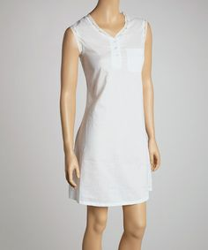 Take a look at this White Lace Sleeveless Sleepshirt - Women by Casual Moments on #zulily today!
