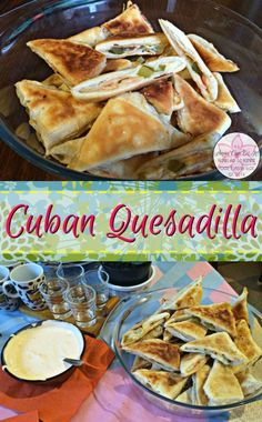 Flavorful, healthy game day snack, the delicious cuban quesadilla filled with ham, cheese, pickles and mustard.