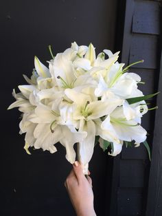Casa Blanca Lily Bouquet Lilly Bouquet Wedding, White Lily Bouquet, Summer Wedding Bouquets, Bridesmaid Bouquet, Prom Flowers, Bridal Flowers, Red Rose Wedding, Floral Wedding, Rustic Garden Wedding