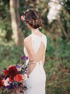 chignon wedding updo hairstyle with flower crown