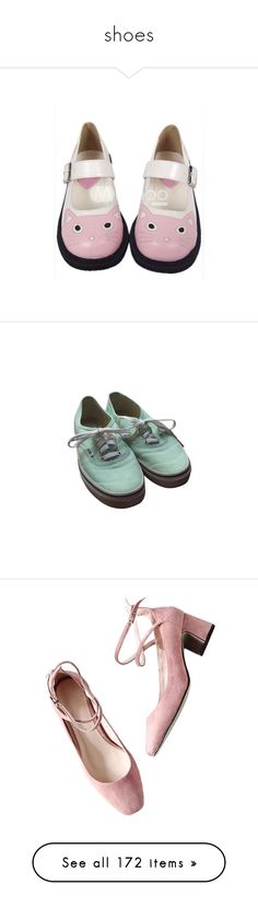 """""""shoes"""" by trigga ❤ liked on Polyvore featuring shoes, flats, flat pumps, pink shoes, flat pump shoes, high heel shoes, polyurethane shoes, sneakers, vans sneakers and mint green sneakers"""