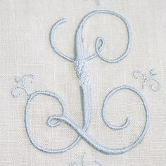 """script letter """"L"""" in satin stitch Embroidery Monogram, Embroidery Stitches, Embroidery Patterns, Hand Embroidery, Machine Embroidery, Linens And Lace, Heirloom Sewing, Satin Stitch, Monogram Letters"""