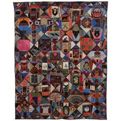 Elaborate Victorian Crazy Quilt with Pictorial Images   From a unique collection of antique and modern quilts at https://www.1stdibs.com/furniture/folk-art/quilts/