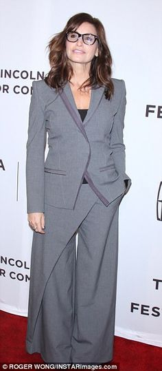 Standing out: Gina Gershon - who plays Lydia in Permission - looked sophisticated in a gre...