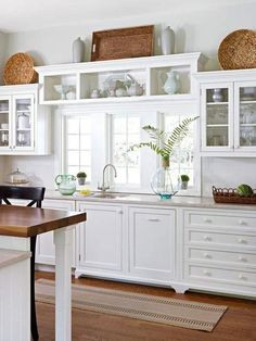 28 Kitchen Update: Choosing a Cabinet Color White Kitchen Cabinets Cabinet Choosing Color Kitchen Update above kitchen cabinets simple Decorating Above Kitchen Cabinets, Above Cabinets, Refacing Kitchen Cabinets, Kitchen Cabinet Styles, White Kitchen Cabinets, Cabinet Top Decorating, White Kitchens, Top Of Cabinets, Rustic Cabinets