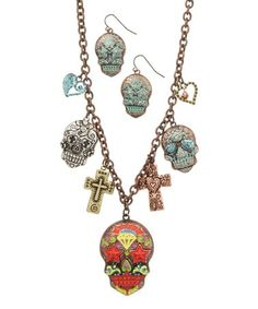 Look at this #zulilyfind! Goldtone Skull Station Necklace & Drop Earrings Set #zulilyfinds
