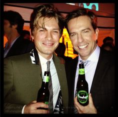 From the guys that invented Mmmbop. Doesn't he still look cute? It's one of the Hanson brothers at the premiere of Hangover 3 with Ed Helms holding his new microbrew Mmmhops. Get it?