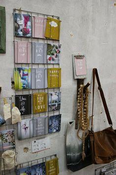 Postkaartenrek Madam Stoltz via www. Decoration Inspiration, Inspiration Wall, Built In Bar, Co Working, Retail Space, Store Displays, Deco Design, Dorm Decorations, Interior Decorating