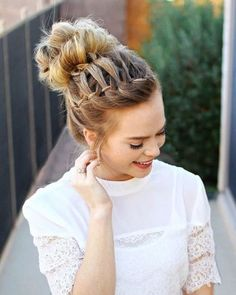 Image result for high bun with braid with hair jewelry