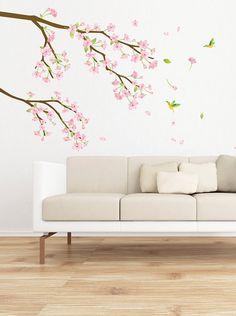 Ambiance Live Vinilo Adhesivo Rama Con Flores De Color Rosa Y Los Colibríes Multicolor