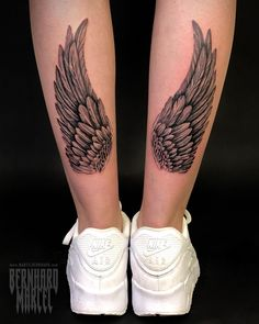 Forearm Wing Tattoo, Angle Wing Tattoos, Back Of Leg Tattoos, Wing Tattoo Men, Leg Sleeve Tattoo, Tattoo Wings, Rose Tattoos For Women, Leg Tattoos Women, Tattoos For Guys