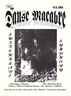 Danse Macabre magazine | Volume 2, 1994 +†+ Cover: #portrait #Switchblade #Symphony #goth #band #Tina #Root #Susan #Wallace #Robin #Jacobs #darkwave  #photographer #Eric #Fischer #gothic #subculture #publication #Danse #Macabre #magazine #Dvd #Davyd #David #Lynds #editor #vintage #retro #collectible #rare #San #Francisco #Bay #Area #small #press #shadow #scene #grufti #darksider #artist #author #poems #poetry #poets #illustrations #interviews