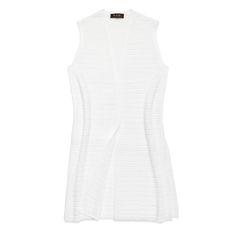 Tobago linen & silk hip length straight cut vest, optical white, Loro Piana, $1350; see associated tunic
