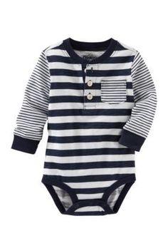 OshKosh Bgosh Navy Multi-Stripe Henley Bodysuit