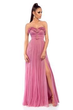 Ana Radu rosa occasional long dress with push-up cups, bow shaped accessory, push-up cups, wrinkled fabric, zipper fastening, corset tipe fastening, inside lining, net