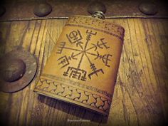 Custom Leather Flask   Viking Inspired Design  by BeastmanCaravan