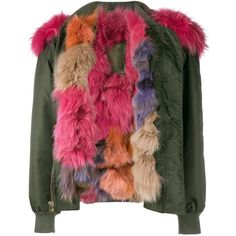 Mr & Mrs Italy Raccoon Fur-Trimmed Bomber Jacket ($5,880) ❤ liked on Polyvore featuring outerwear, jackets, kirna zabete, green hooded jacket, hooded bomber jacket, lined bomber jacket, bomber jacket and fox jackets