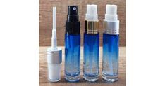 Blue gradient glass perfume bottle with fine mist pump, 10 ml - Glass Bottles, Perfume Bottles, Amber Color, Body Spray, Aromatherapy, Mists, Black Silver, Essential Oils, Fragrance