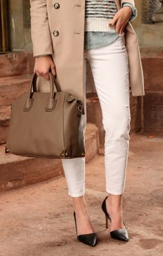 white pants, camel coat, chambray top, striped sweater, winter outfit