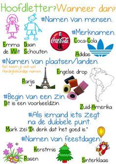 Hoofdletters en leestekens Watch your spelling. Learning To Be, Learning Activities, Learn Dutch, Dutch Language, School Posters, School Hacks, Primary School, Kids Education, Homeschool
