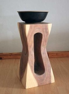 Wood stool or stand carved #furniture #white oil finish