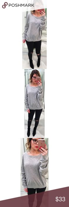 Wildfox Gray Jumper This lightweight jumper features long sleeves, a banded hem and a Wildfox logo on the left front side. Gently worn, still super soft. 💕Offers welcome on single items and on bundles. Take 20% off your bundles automatically at checkout. Happy Poshing!💕 Wildfox Tops Sweatshirts & Hoodies
