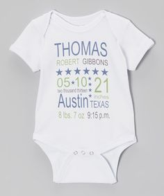 Take a look at this White Personalized Stars Bodysuit by Sweet Blessings on #zulily today!
