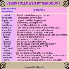 Verbs Followed by Gerunds 1