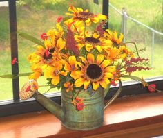 Fall Silk Fl Arangements Sunflower Arrangement By Valndees On Etsy Basket Flower