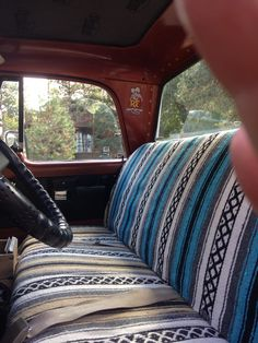 vintage truck with serape interior i want a truck that i can mod podge the ceiling on lol on. Black Bedroom Furniture Sets. Home Design Ideas