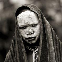 Surma girl white white face - Kibish Ethiopia. eric lafforgue