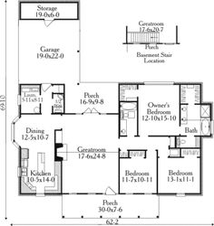 Country Style House Plan - 3 Beds 2.50 Baths 1875 Sq/Ft Plan #406-220 Floor Plan - Main Floor Plan