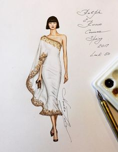 fashion design Natalia Zorin Liu is an artist from Melbourne who made series of tutorials on drawing the amazing fashion characters using watercolor and Copic Markers. Dress Design Drawing, Dress Design Sketches, Fashion Design Sketchbook, Fashion Design Drawings, Fashion Sketches, Dress Illustration, Fashion Illustration Dresses, Fashion Illustrations, Simple Illustration