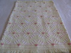 Swedish Weaving Monk's Cloth Baby Blanket done on Yellow Cloth with ...