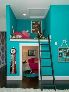 Secret hide out; ladder; ADD railing to prevent falls; private area for kids; slumber parties; reading nook; dream catcher; teal walls