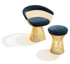 The Warren Platner Collection in 18k gold-plated steel | PC: Ilan Rubin Knoll Inspiration